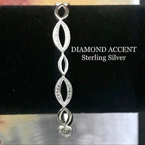 STERLING SILVER DIAMOND ACCENT LINE BRACELET 925